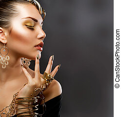 stående, flicka, mode, guld, makeup.