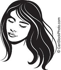 stående, flicka, vektor, skönhet, ansikte