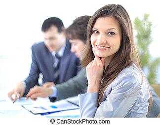 stående, framgångsrik, affärskvinna