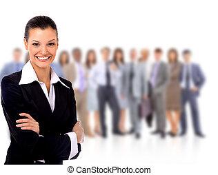 stående, framgångsrik, businesswom