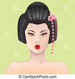 stående, geisha