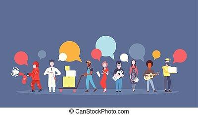 stående, grå, olik, begrepp, pratstund, färgrik, folk, ockupation, affisch, lägenhet, arbete, tillsammans, bakgrund, kommunikation, professionell, horisontal, helgdag, bubbla, dag, firande