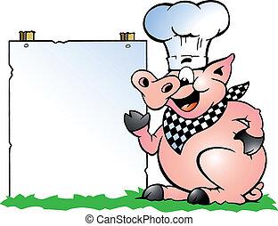 stående, gris, kock, pekande