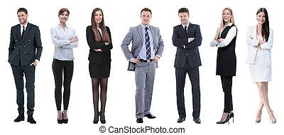 stående, grupp, affärsfolk, framgångsrik, row.