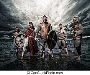 stående, grupp, vikings, shore., flod, beväpnat