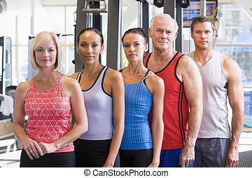 stående, gymnastiksal, män, kvinnor