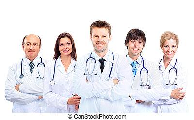 stående, hans, colleagu, läkare