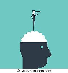 stående, hjärna, spyglass., affärsman