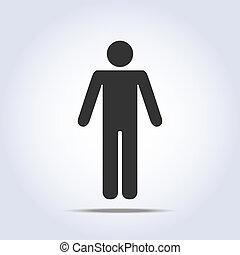 stående, icon., vektor, mänsklig, illustration