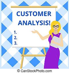 stående, information, systematisk, affär, foto, företag, whiteboard, glasögon, skrift, avnämare s, presentation., examen, analysis., kvinnlig, begreppsmässig, showcasing, hand, visande, stå