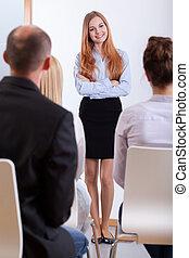 stående, intervju, jobb, flicka