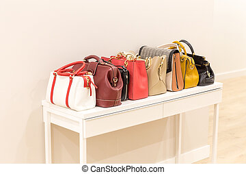 stående, kollektion, handväskor, rad