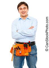 stående, konstruktion, le, arbetare