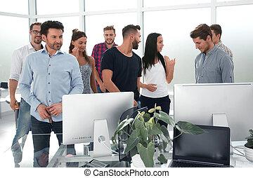 stående, kontor, affär, nymodig, lag, lycklig