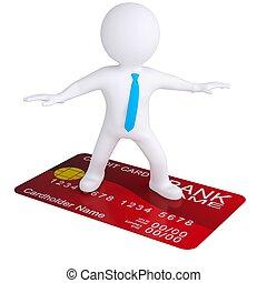 stående, kreditera, vit, 3, kort, man