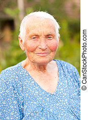 stående, kvinna, äldre