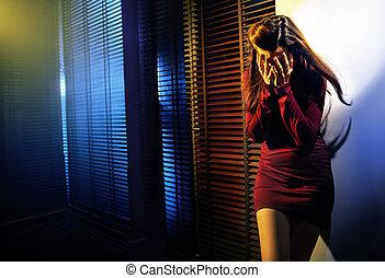stående, kvinna gråt