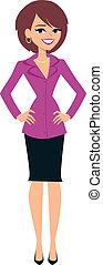 stående, kvinna, illustration