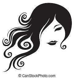 stående, kvinna, långt hår