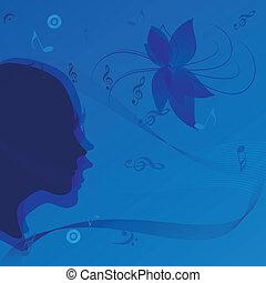 stående, kvinna, musik