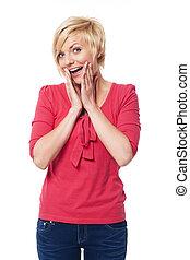 stående, kvinna, spänd, blondin