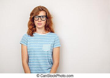 stående, kvinna, svart, ung, glasses.