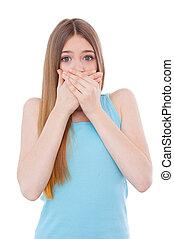 stående, kvinna, täcke, gossiping., nej, ung, chockerat, isolerat, medan, mun, räcker, vit, mer