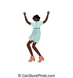 stående, kvinna, upprest, ung, illustration, vapen, fira, amerikan, vektor, afrikansk, flicka, händelse, lycklig