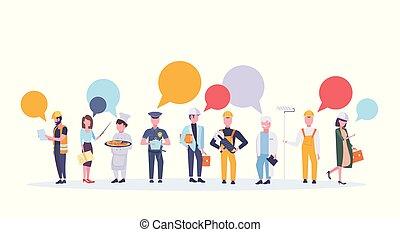stående, lägenhet, olik, begrepp, firande, färgrik, folk, kommunikation, arbetare, isolerat, kollektion, arbete, tillsammans, pratstund, affisch, professionell, horisontal, helgdag, bubbla, dag, ockupation