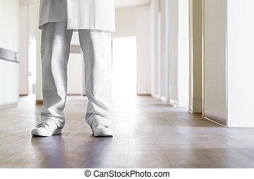 stående, läkare, golv