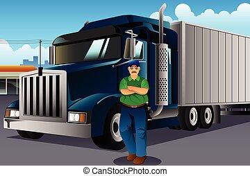 stående, lastbil, hans, chaufför, främre del