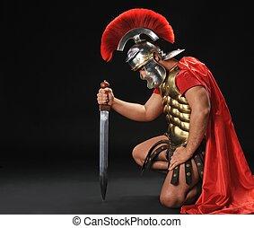 stående, legionary, soldat