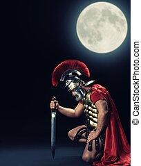 stående, legionary, tid, soldat, natt, knä