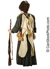 stående, levande, baksida, history., rysk, cossack, rifle.