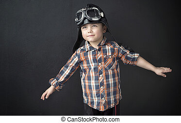 stående, litet, pilot