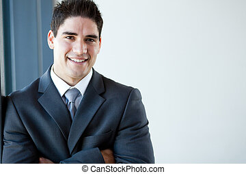 stående, lycklig, ung, affärsman