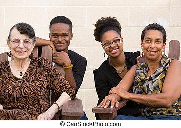 stående, mångfaldig, familj