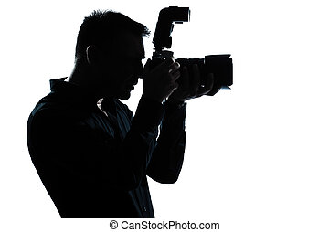 stående, man, silhuett, fotograf