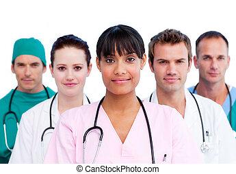 stående, medicinsk, mångfaldig, lag