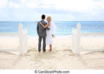 stående, mot, staket, just, detta, par, gift, ocean