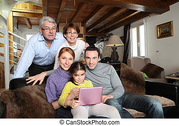 stående, mysig, familj