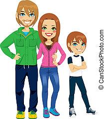 stående, nymodig, familj