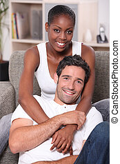 stående, par, mellan skilda raser