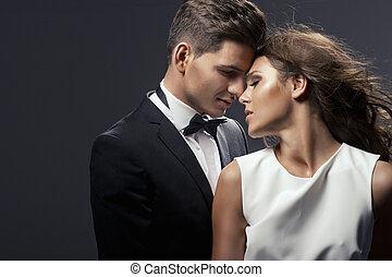 stående, par, sensuell, söt