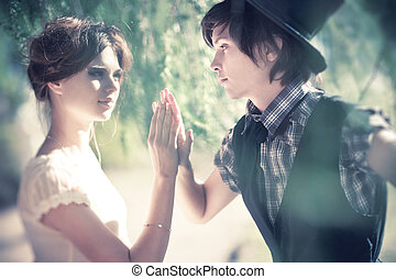 stående, par, ung, romantisk