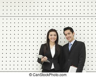 stående, partners., asiatisk affärsverksamhet