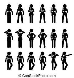 stående, poses., kvinna, ställingar, grundläggande