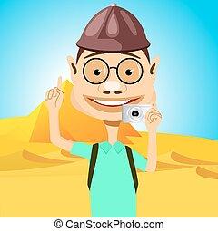 stående, resande, glasögon, pyramider