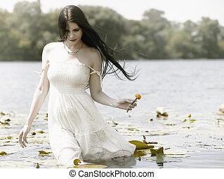 stående, romantisk, kvinnlig, utomhus