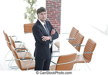 stående, rum, affärsmöte, tom, man